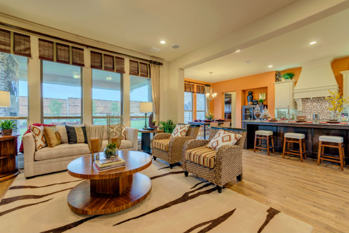 Darling Home Model at Fairway Ranch, inside the living room