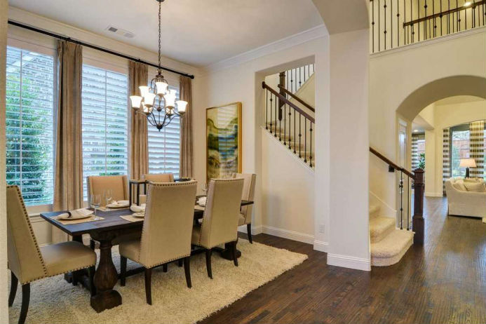Highland Homes model, dining area and staircase